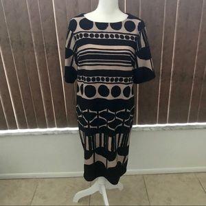RM LL Black/Tan Striped Short Sleeve Zipper Dress